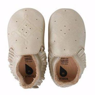 Afbeelding van Bobux : Soft Soles - Gold/Tassle Trim Moccasin - Small