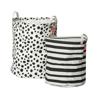 Afbeeldingen van Done by Deer : Soft Storage Basket - 2 pcs. - Black