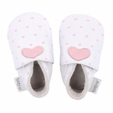 Afbeelding van Bobux : Soft Soles - White Blossom Heart - Small