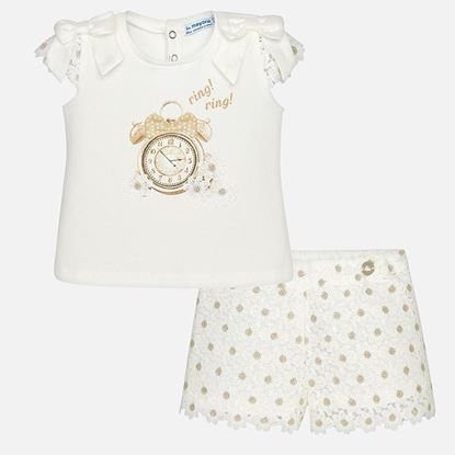 Afbeeldingen van Mayoral : Baby girl bermuda shorts and shirt set - Champan